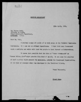 Nigel Oram, letter to Boyamo Sali, Minister of State, Chief Minister's Department, Konedobu, 12 A...