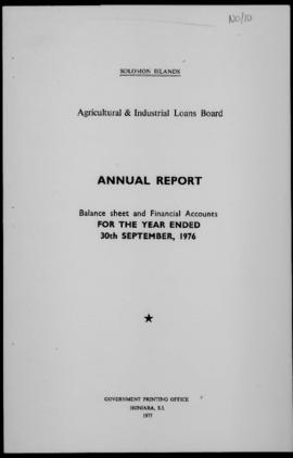 Solomon Islands, Agricultural and Industrial Loans Board, Annual Report balance sheet and financi...