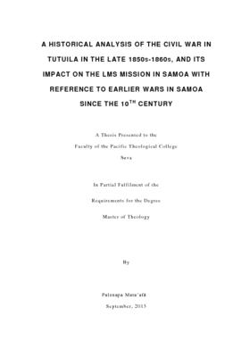 A Historical Analysis of the Civil War in Tutuila in the Late 1850s-1860s, and its Impact on the ...