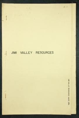 "Report Number: 288 Survey of Lower Jimi Valley Resources, 3pp. Includes map with scale 1""= 1 mile"