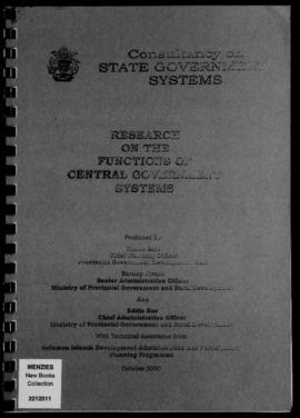 Rence Sore, Barney Sivoro and Eddie Ene, Research on the Functions of Central Government Systems,...