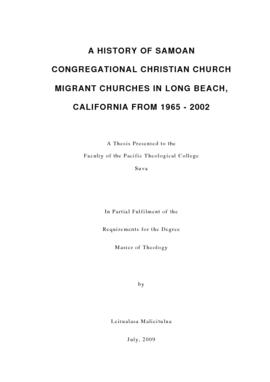 A History of Samoan Congregational Christian Church Migrant Churches in Long Beach, California fr...