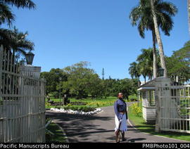 [Suva Soldier on duty at main gate of Government House]