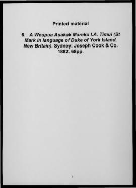 A Weupua Auakak Mareko I.A. Timui (St Mark in language of Duke of York Island, New Britain). Sydn...