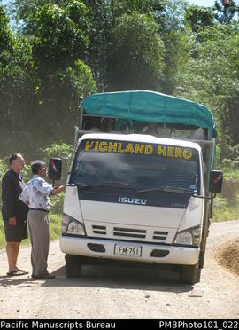 "[Inland from Colo-I-Suva, Chris Gregory and Brij Lal talking to driver of the ""Highland Hero..."