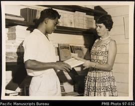 Miss Lowndes, book stall, Tangoa