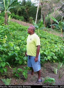 Bukuyu Freddy Gusulevu in his  kava garden
