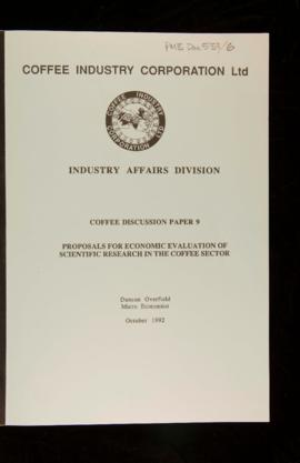 Duncan Overfield, Proposals for economic evaluation of scientific research in the coffee sector, ...