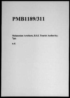 Melanesian Artefacts, B.S.I. Tourist Authority; 7pp.