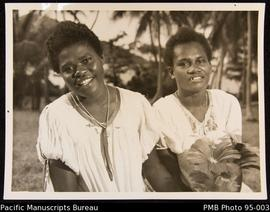 Mary and Mucky, house girls to Mrs. Jessie Murray, Nguna mission house