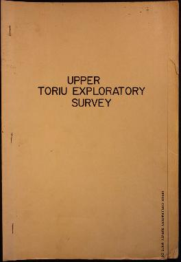 Report Number: 101 Upper Toriu Exploratory Survey Report, 8pp. [Report only. No map.]
