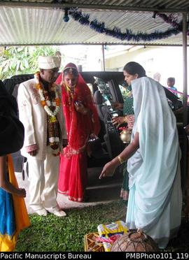 [Suva Wedding Mahen and Savita greeted by relatives at Mahen's house]