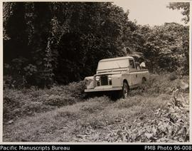 Land Rover truck in native vegetation