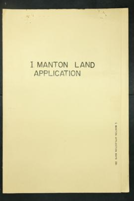 Report Number: 281 Land Application, I. Manton, Western Highlands. [Map only.] Includes map with ...