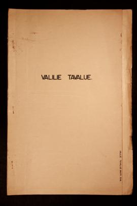 Report Number: 394 Valilie-Tavalue Reconnaisance Survey, 8pp. [No map on file.]