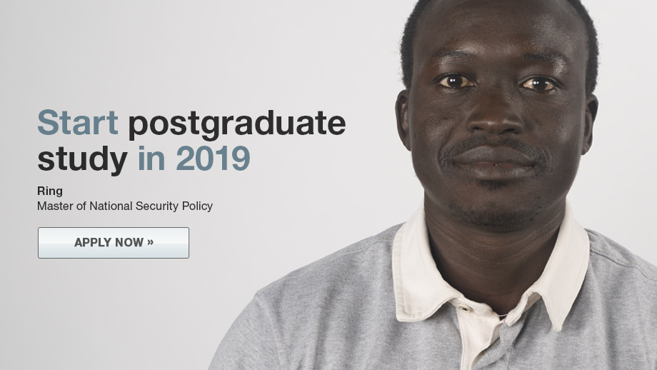 Banner image for postgraduate coursework study 2019. Apply today.