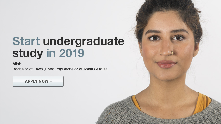 Banner image for undergraduate study 2019. Apply today.