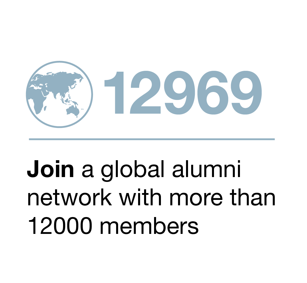 Join a global alumni network with more than 12,000 members