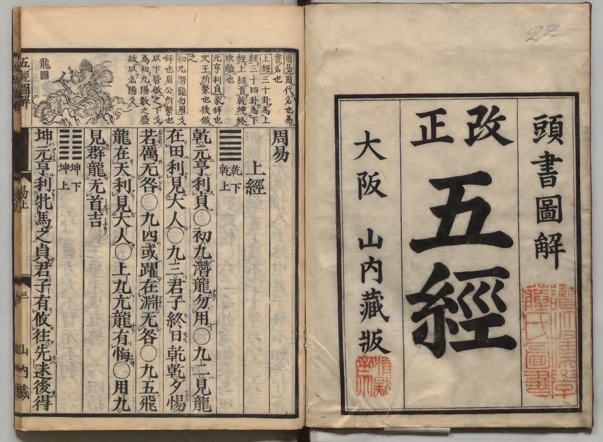Illustrated Five Classics printed in Osaka 1874