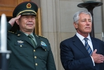Chinese Minister of National Defence General Chang Wanquan and US Secretary of Defence Chuck Hagel in Washington, August 2013. Photo by Paul J Richards, AFP.
