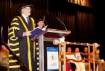 ANU Chancellor Professor the Hon Gareth Evans AC QC presides over the ceremony. Photo by Stuart Hay.