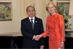 Myanmar President Thein Sein meets Australia's Governor-General Quentin Bryce. Photo by Auspic/Department of Finance.