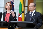 Australian PM Julia Gillard meets with Myanmar's President Thein Sein. Photo by AAP.