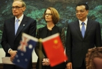 Foreign Minister Bob Carr and Priome Minister Julia Gillard China's Premier Li Keqiang. Photo by David Foote.