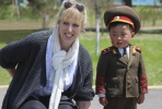Emma Campbell with North Korean child on her recent tour of the Northeast Asian state.