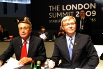 Prime minister Kevin Rudd (right) and then Treasurer Wayne Swan in London during the 2009 G20 summit. Photo by AFP.