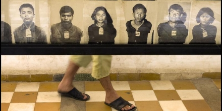 Image of photographs of murdered detainees, Tuol Sleng Genocide Museum