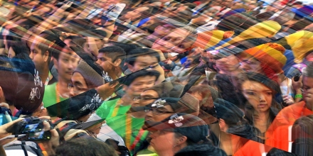 Digitally abstracted image of a scene of a crowd of people.