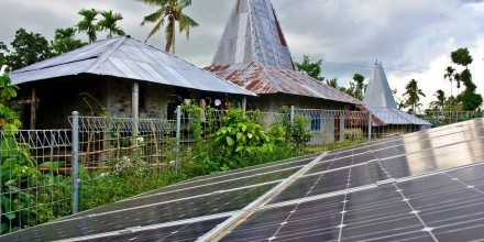 Photograph: solar panels in Weepatando village, Sumba island, Indonesia