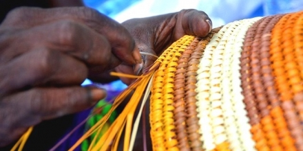 Image from pandanus weaving session for tourists, Lirrwi Indigenous Tourism, Arnhem Land, NT