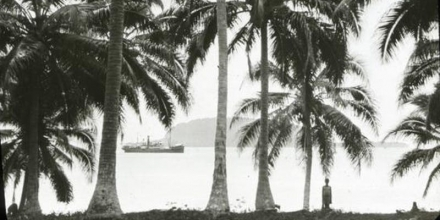Steamer viewed from unknown island