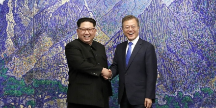 Kim Jong-un and Moon Jae-in at the the 2018 inter-Korean summit
