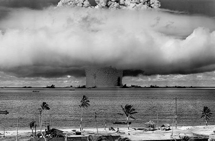 Nuclear testing at the Bikini Atoll. Image from Robert Huffstutter on Flickr.