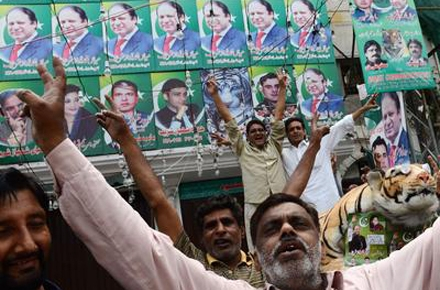 Supporters of Nawaz Sharif. Photo by AAP.