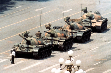 Jeff Widener's famous photo of a man confronting tanks near Tiananmen Square, June 1989.