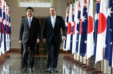 Japan Prime Minister Shinzo Abe and Australian Prime Minister Tony Abbott. Photo by AFP.