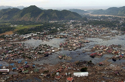 Devastation in Aceh from the 2004 Indian Ocean tsunami. Photo by US Navy/ Wikimedia commons.