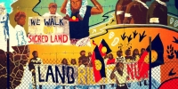 Image of mural illustrating the campaign for Aboriginal land rights.