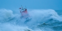 Image of lifeboat in the stormy sea