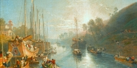 Oil on canvas- Sunrise on the Grand Canal of China by William Havell (Reading 1782 - London 1857)