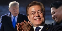 Donald Trump, Moon Jae-in, and Kim Jong-un