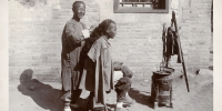 A Qing Dynasty street barber