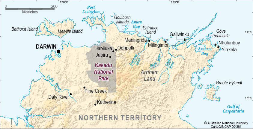 Kakadu National Park Map Kakadu National Park location   CartoGIS Services Maps Online   ANU