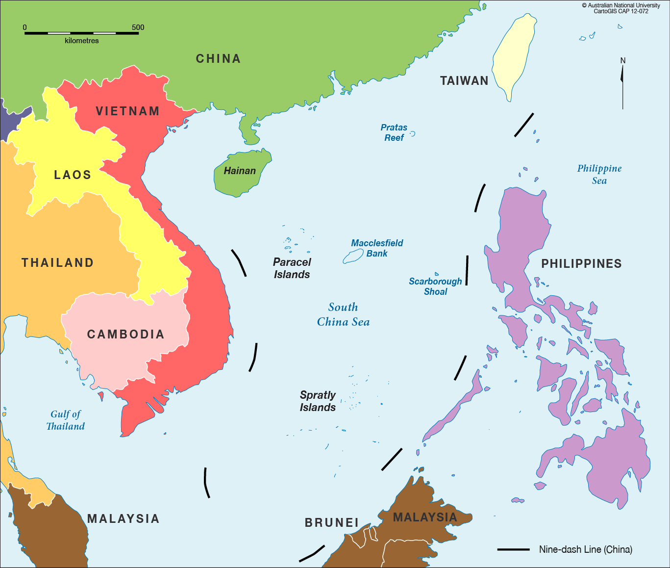 China Sea Map South China Sea in colour   CartoGIS Services Maps Online   ANU