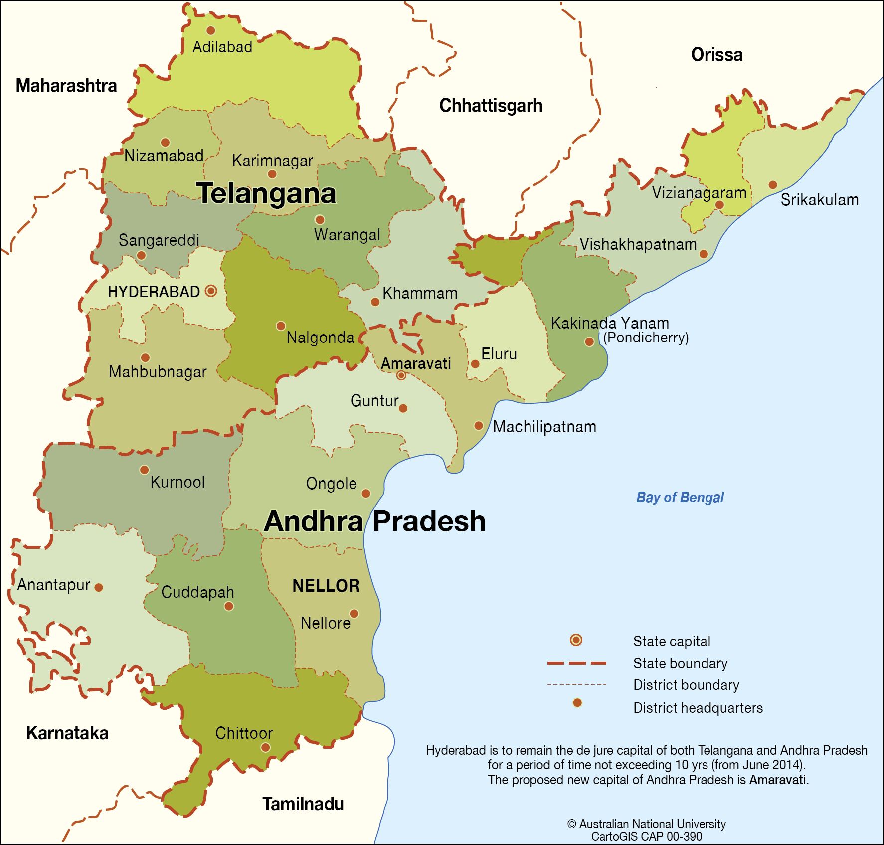 Andhra Pradesh Map Andhra Pradesh and Telangana States   CartoGIS Services Maps  Andhra Pradesh Map
