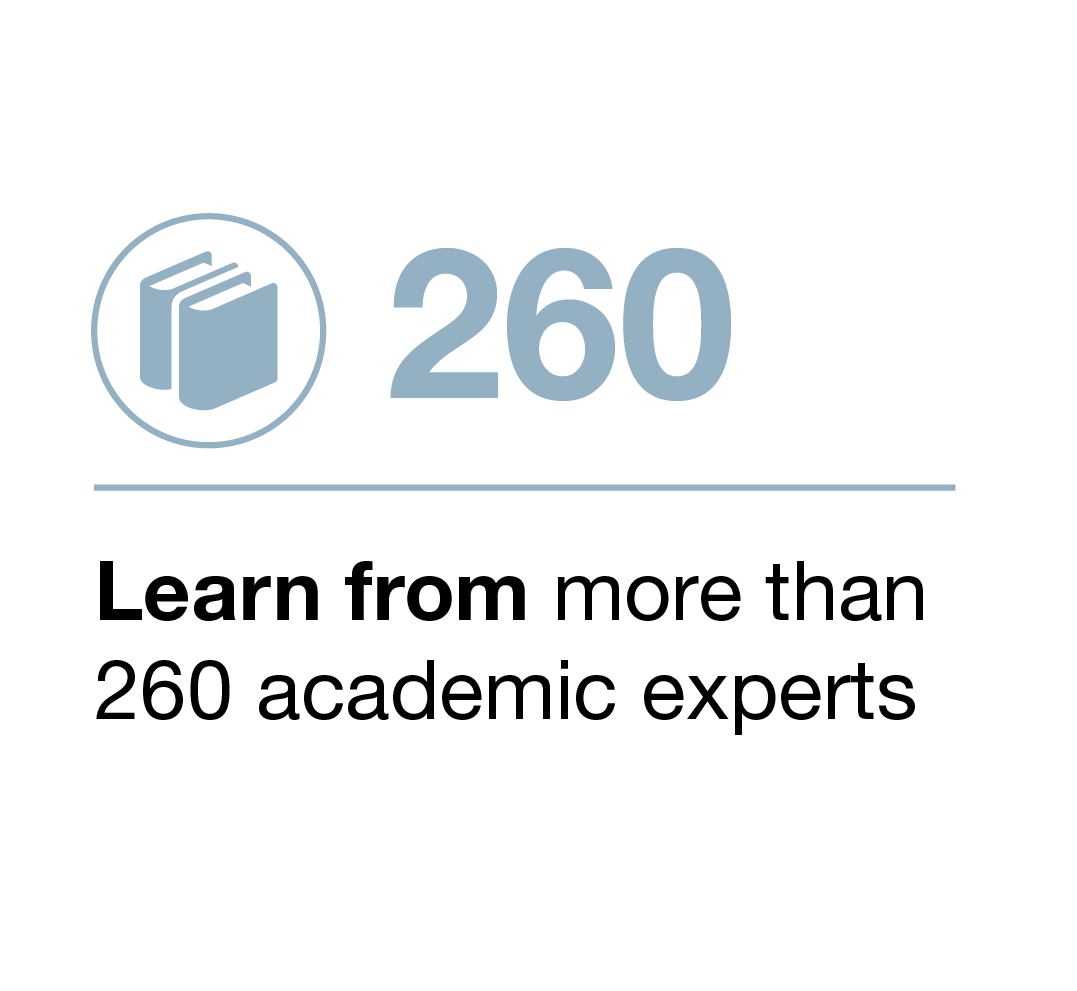 Learn from more than 260 academic experts